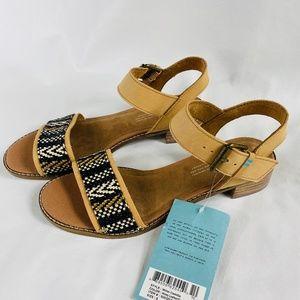 TOMS Camilia Honey Leather Geometric Woven Sandals